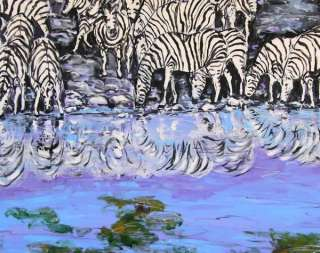 African Zebras Original Fine Art PAINTING DAN BYL Modern Animal