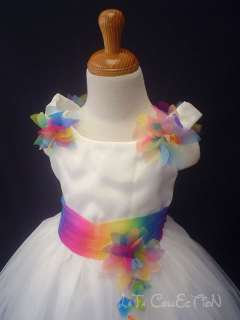 Princess Wedding Pageant Fancy Dresses NEW White 7,8,9,10,11years