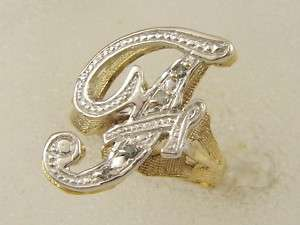 10 KT SOLID YELLOW WHITE GOLD LADIES RIGHT HAND PAVE DIAMOND F NAME