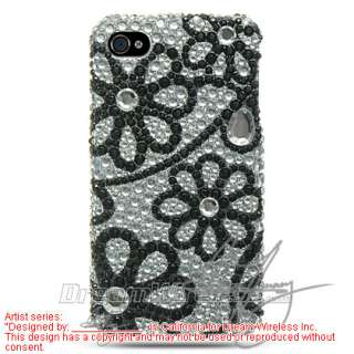 Black Flower Lace Diamond Bling Hard Case Cover fit Apple iPhone 4 4G