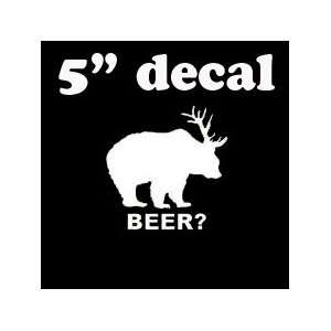 BEER?   5 WHITE Decal (IKON SIGN EXCLUSIVE) Vinyl Decal Sticker