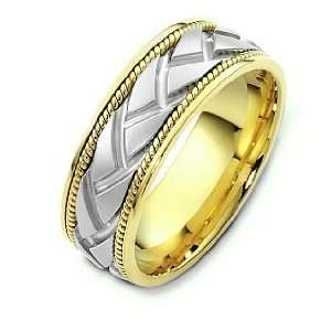 Unique Carved 18 Karat Two Tone Gold Designer Wedding Band