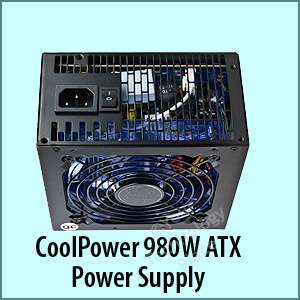 Cool Power Gamer 980 Watt PC ATX SATA PCIe Power Supply 120mm Blue LED