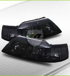 99 04 Ford Mustang Cobra Style Smoke Tint Crystal Headlights Lamps