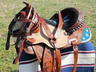 ZS115 Western Barrel Racing Trail Pleasure Saddle With Bridle Breast