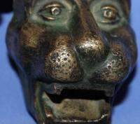 Antique Art Deco Solid Bronze Lion Beast Head Figurine