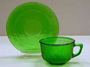 Depression Era Green Glass CUP & SAUCER SET Crackle Pattern