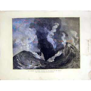 Mount Vesuvius Crater Volcano Eruption Old Print 1872