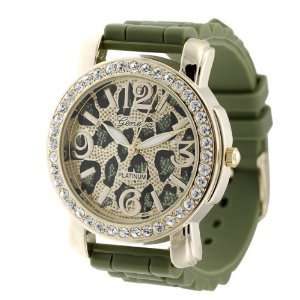 GP Designs Womens Animal Print Silicone Watch Geneva