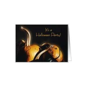 Halloween Party Invitation, Orange pumpkins with shadows and light