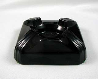 ART DECO Black Amethyst Glass INKWELL BASE Only SWIVODEX