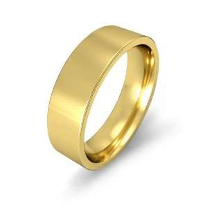 6.6g Mens Flat Wedding Band 6mm Comfort Fit 14k Yellow