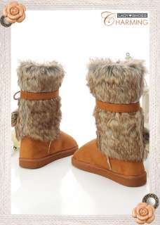 Warm♥ Womens Australian Classic Faux FURS Boots Brown