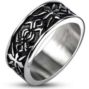 Size 12  Spikes Mens Stainless Steel Tribal Pattern Cast Ring Jewelry