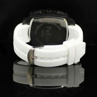 New Mens Sport Square Big Dial White Rubber Silicon Band Wrist Watch