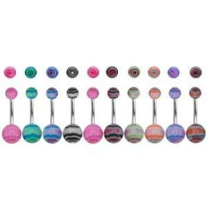 316L Surgical Steel Tie Dye Belly Rings  14G   3/8 Bar Length   Sold