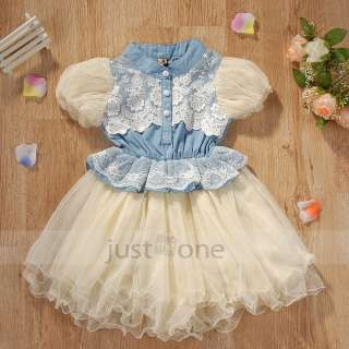 Toddlers Girls white lace fluffy gauze Cowboy Jeans Dress 3 6Y