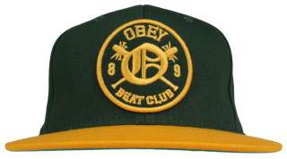 NEW Obey Clothing Beat Club Snapback Hat   Hunter Green/Gold   FREE