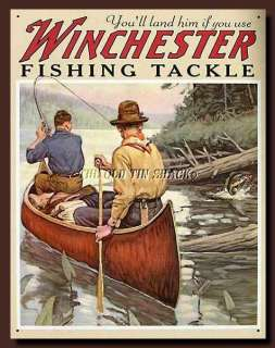 Tin Metal Sign   Winchester Fishing Tackle Outdoor Sporting Fish #1008