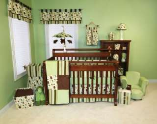 TREND LAB GIGGLES GREEN BROWN 10PC INFANT NURSERY BABY CRIB BEDDING