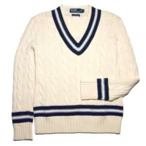 POLO RALPH LAUREN MEN SWEATER PIMA COTTON WHITE SIZE M L