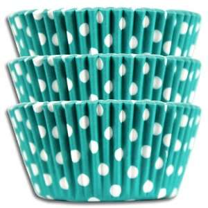 Turquoise Polka Dot Baking Cups, Greaseproof 1000 Pack.