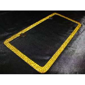 Rows YELLOW CRYSTAL License Plate Frame & Caps w/ High Quality Bling
