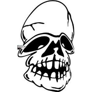 DEFORMED FACE SKULL 10 WHITE VINYL DECAL STICKER