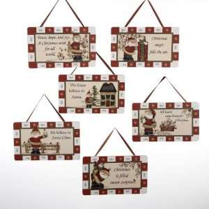Club Pack of 24 Wooden Santa Claus Plaque Christmas