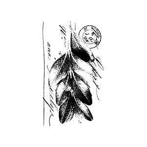 Scripted Leaf    Wood Mounted Stamp (2 1/2 x 4 1/4) Arts