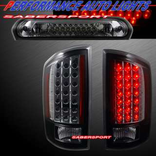 07 08 DODGE RAM 1500 LED TAILLIGHTS & 3RD BRAKE LIGHT