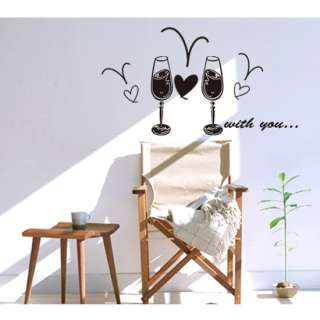 Wine Glasses Adhesive Removable Wall Decor Accents GRAPHIC Sticker