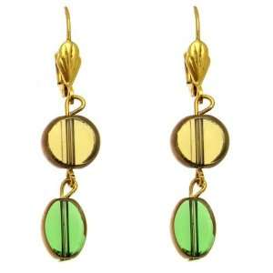 Olive & Emerald Green Bead   Gold Tone Drop Earrings Jewelry