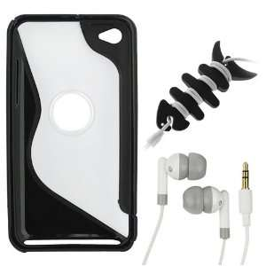 Shape TPU Rubber Cover Case + White 3.5mm Universal Stereo Soft Gel