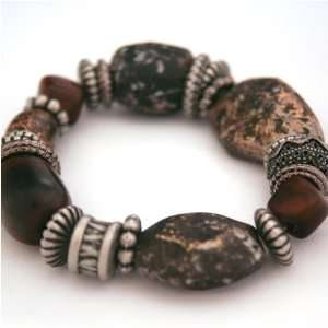 Brown Marble Stone Antiqued Beaded Bracelet Arts, Crafts & Sewing