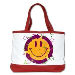 Bag Purse (2 Sided) Red Recycle Symbol Smiley Face