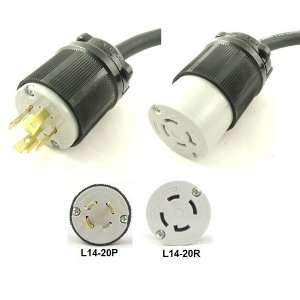 L14 20P to L14 20R Extension Power Cord, 10 Foot   20A, 125/250V, 12/4