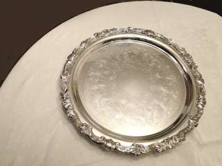 Extra Large heavy silver plate silverplate tray round footed 16