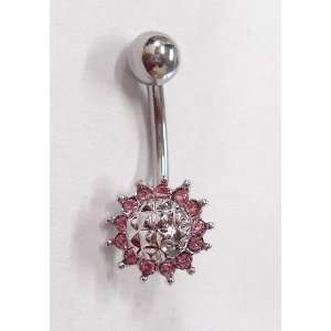 Pink Gem Studded Belly Ring