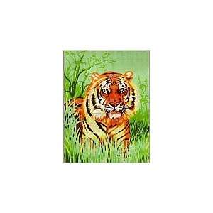 TIGER IN THE GRASS NEEDLEPOINT CANVAS DESIGN Arts, Crafts