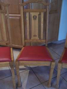 Antique Art Nouveau Arts & Crafts Set of 4 Dining Chairs Oak with Red