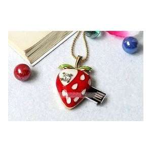 Strawberry Crystal style USB flash drive with Necklace Electronics