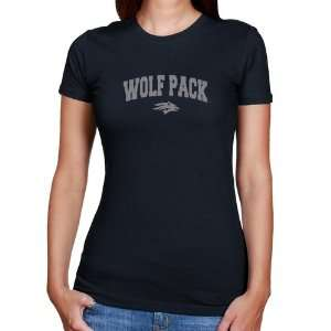 Nevada Wolf Pack Ladies Navy Blue Logo Arch T shirt