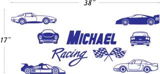 Name Racing Cars Vinyl Wall Decals Stickers Art #023