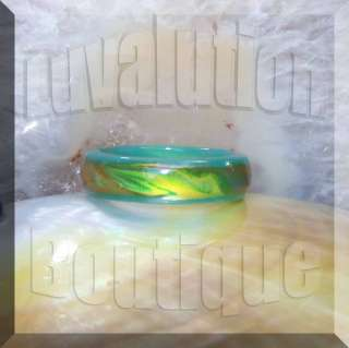 Green Agate Stone Mood Ring Band Color Changing Gemstone Box Size 5 6
