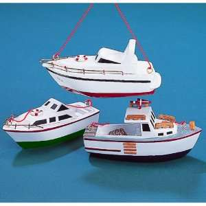 Wooden White & Green Yacht Boat Christmas Ornament #C0554