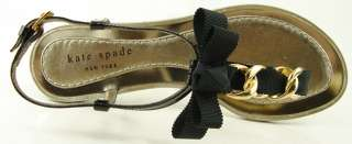 KATE SPADE INDIRA Black Patent Gold Chain Womens Shoes Designer Thong
