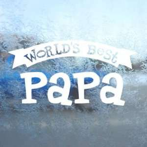 Worlds Best Papa White Decal Car Window Laptop White
