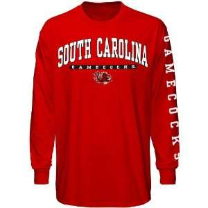 Tee Shirt  South Carolina Gamecocks Garnet Mascot Bar Long Sleeve T
