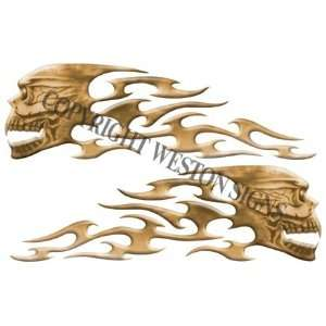 Brown/Tan Motorcycle Gas Tank Tribal Skull Flames   5.5 h
